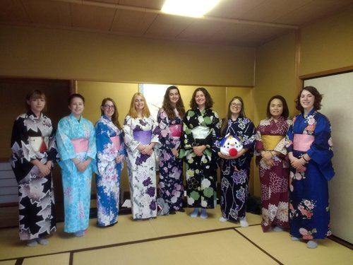 group of students in traditional Japanese attire