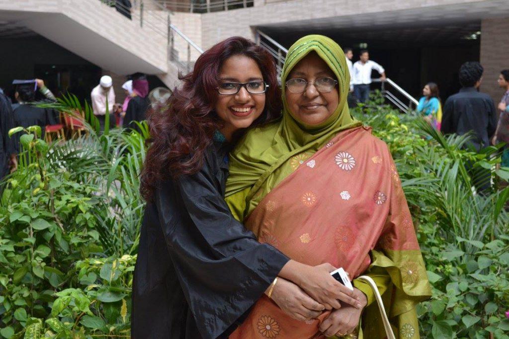 Celebrating undergrad graduation with her mother