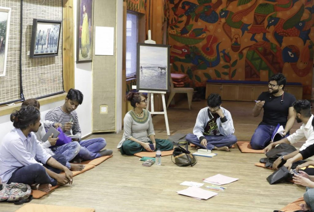 Facilitating a poetry workshop in Dhaka, Bangladesh