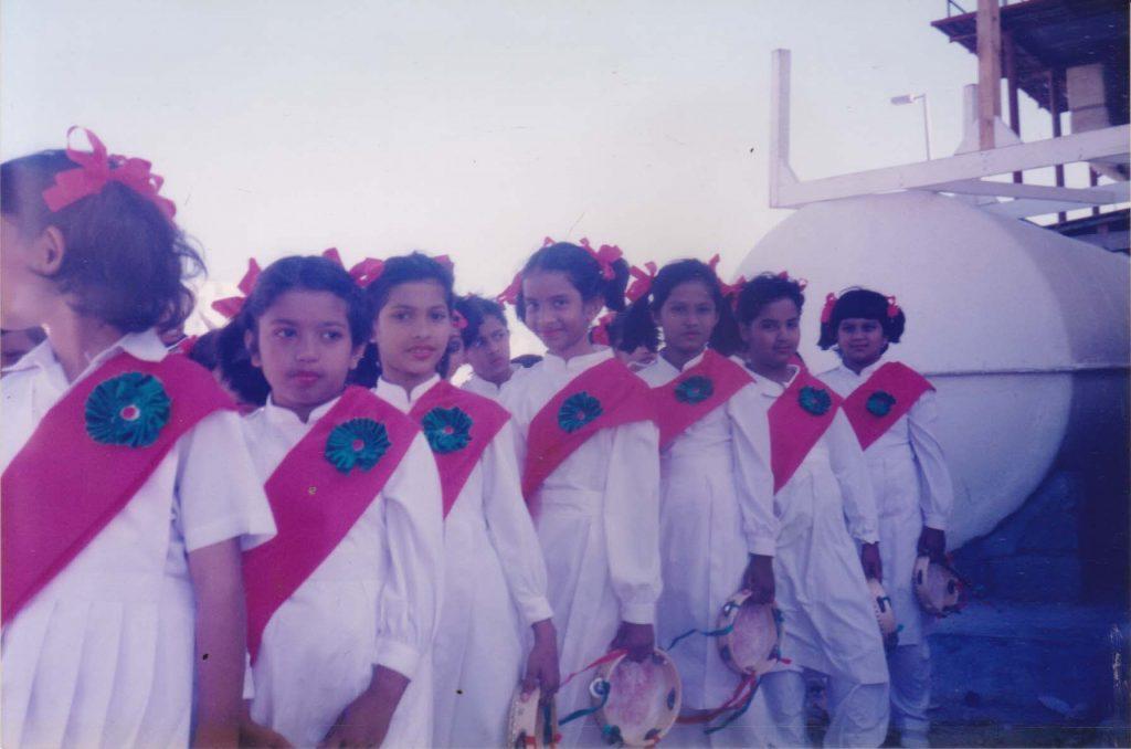Getting ready for a performance at school in Abu Dhabi, UAE