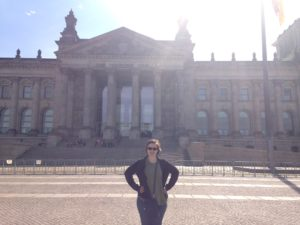 Kaylee in front of a german building