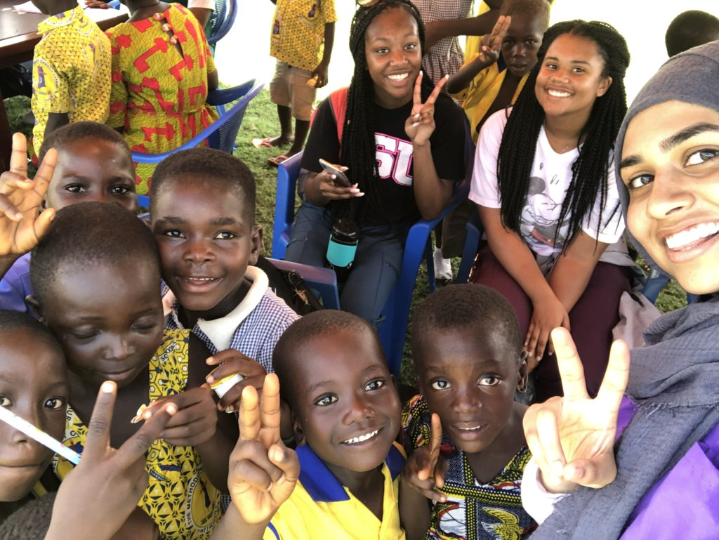 Mariam with a group of kids in Ghana