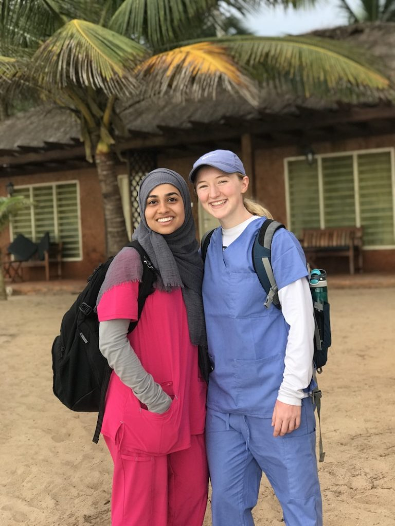 Mariam, left, and a fellow MSU student in Ghana