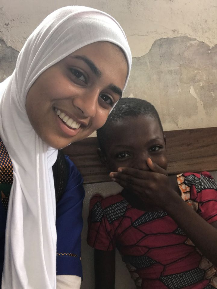 Mariam and a young boy in Ghana