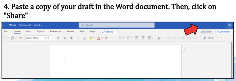 Fourth step on uploading draft to Onedrive